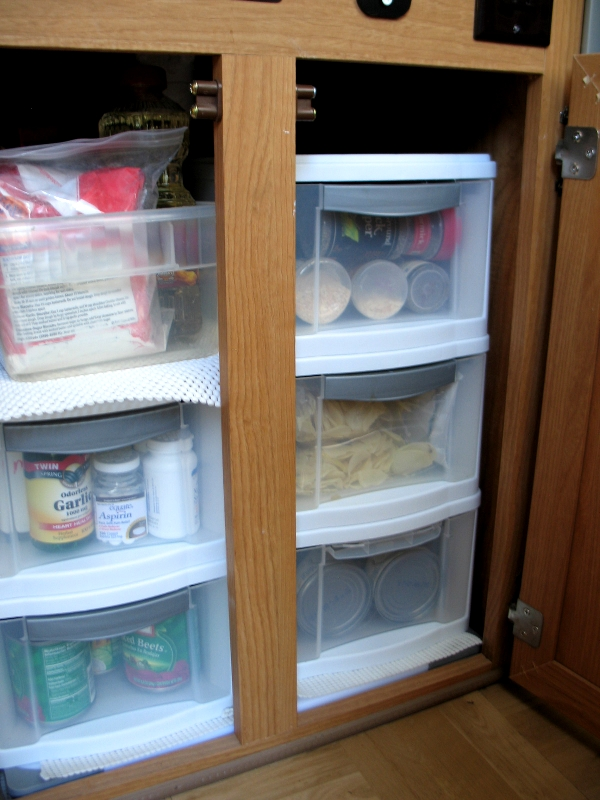 Packing the aliner pantry tinycamper 39 s blog for Caravan kitchen storage ideas
