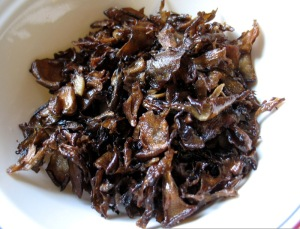 "Hen of the woods mushroom ""bacon"""