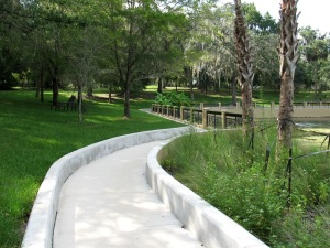 Walkway to the swimming area