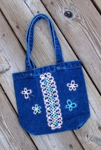 Little girl's tote decorated with tatting