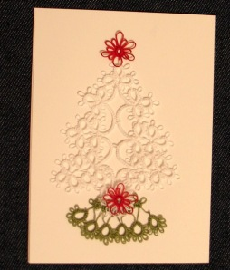 Beginner shuttle tatting on Christmas card