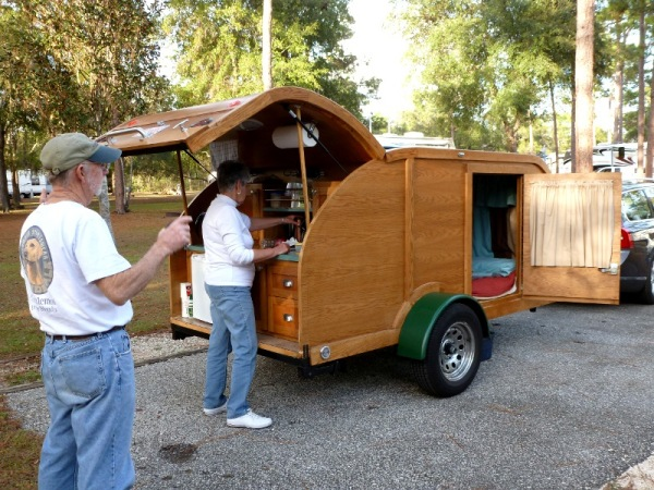 Beautiful wood teardrop camper
