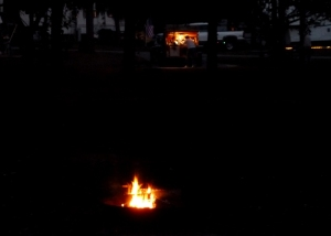 Our campfire with the teardrop camper in the background