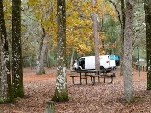 Van in the primitive RV camping area