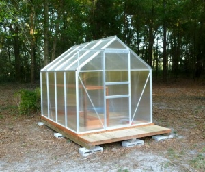 Cecil's greenhouse, built on skids so he can move it with his tractor for optimal sun exposure as the seasons change.
