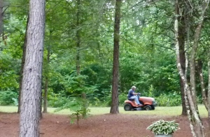 Ron finishing the mowing so we can go camping