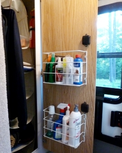 The two racks in the closet will help cut down on clutter elsewhere in the trailer.