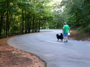 Ron and Sheba.  The campground road is a series of hairpin turns.