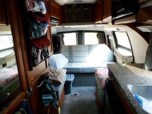 Inside Kim's van.  I was really impressed that she has comfortable seating, since I don't in the Casita!