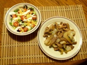 Pork chop strips & bok choy stir fry with salad