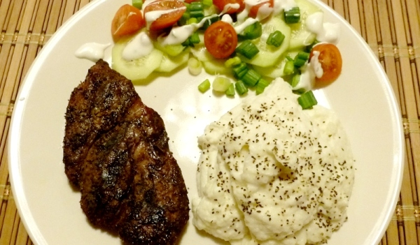 "Tonight's dinner: small steak, mashed ""potatoes"" and salad"