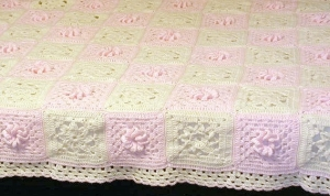 Raised rose patterned afghan