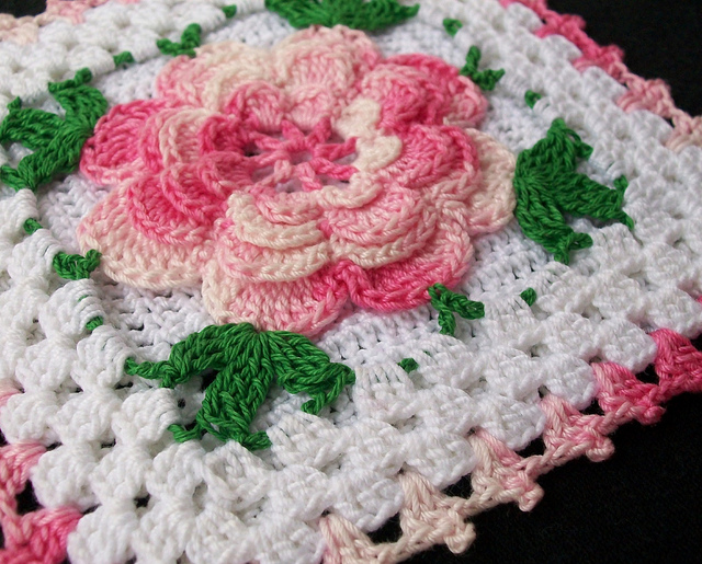 Free Crochet Granny Square Motifs : Running Water, a Big Rock, Chili Cheese Chicken, Rose ...