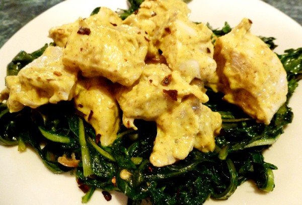 Dandelion greens, field garlic and spicy mustard chicken