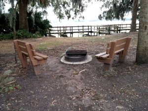 A closer look at the benches by the firepit.