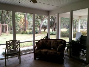 Looking out of the porch toward the pond
