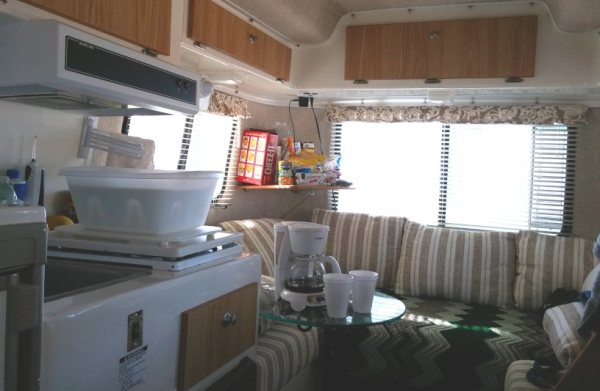 I am posting this shot because before we got our Casita, I used to comb the web looking at interior shots and dreaming of how I'd do mine.  So this is for all of you who are interested in seeing how we live in a teeny-tiny camper.  :)