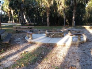 One of several large fire pits for youth groups.