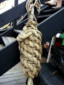 Rope that was too worn to use for rigging was used to make bumpers.