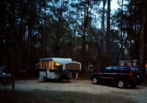 Nightfall in the campground.