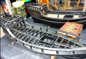 Model showing the ships' structure.