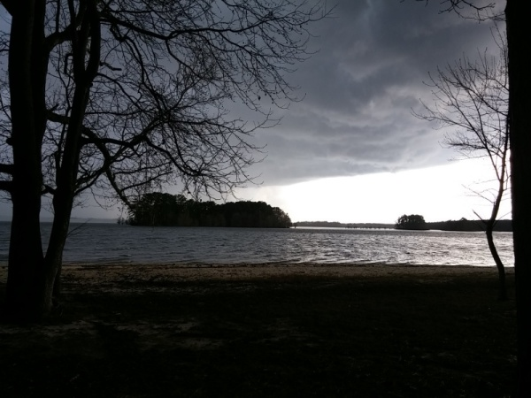 A storm moving in over the lake