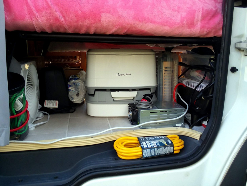 Under bed storage in camper van