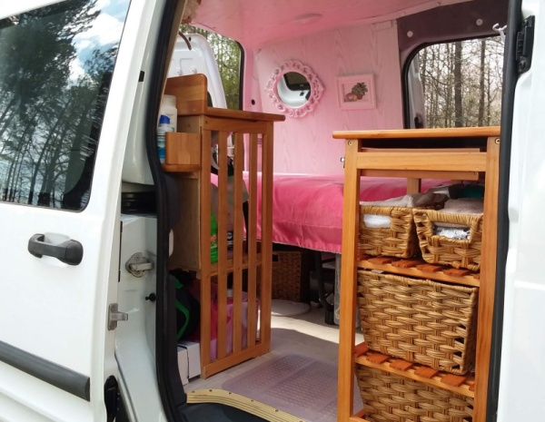 tiny diy camper van entrance